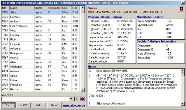 Bright Star Catalogue Viewer screenshot